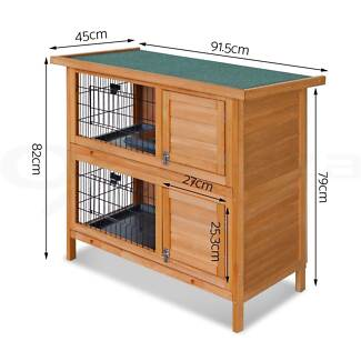 2 Storey Wooden Hutch on legs with plastic pull out trays