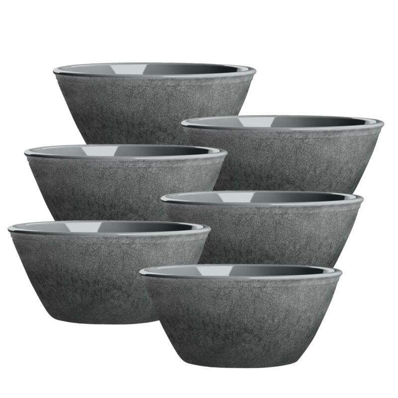Potters Reactive Glaze GREY Melamine Low Bowl x 6