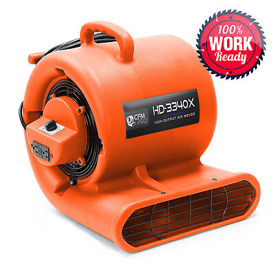 Carpet Dryer Air Mover 3 Speed 13 Hp Blower Fan Gfci Outlets -industrial Orange