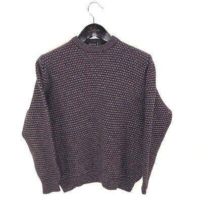 DUNN & CO Wolsey Sweater M Medium Wool Red Blue Crewneck Made in Scotland