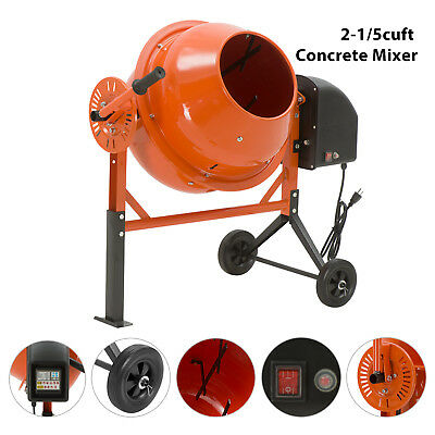 2-15cuft Portable Electric Concrete Cement Mixer Barrow Machine Mixing Mortar