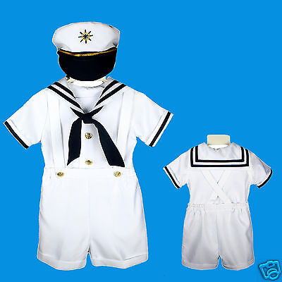 Costume For Baby Boy (D1 New Nautical Sailor Costume White Suit Tuxedo for Baby Boy S M L XL 2T 3T)
