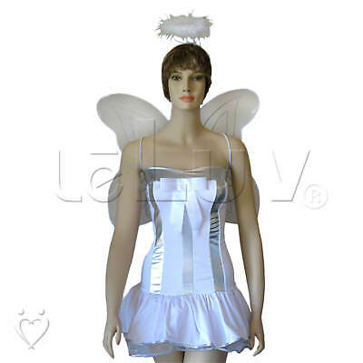 Lil Angel White Frilled Mini Dress Wings Halo Halloween Rave - Angel Costume Halo