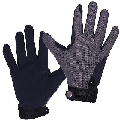 QHP Kinder Reithandschuhe Mesh luftig, Zügelverstärkung (Kind Grau Handschuhe)