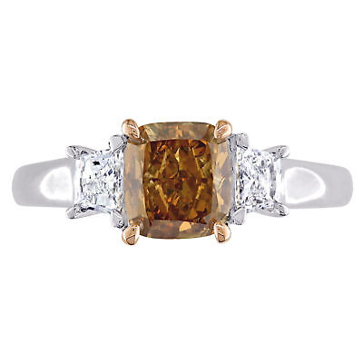 Amour Brown & White Diamond 3-Stone Engagement Ring in 2-Tone 14k Gold 2