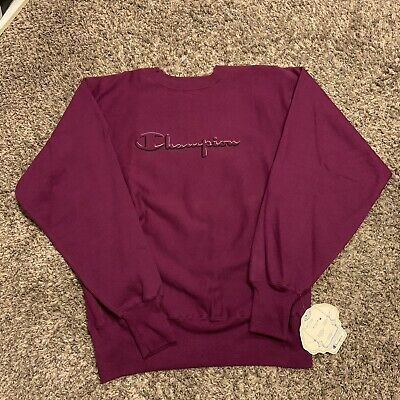 Vintage 90s Champion Purple Embroidered Reverse Weave Sweatshirt Sweater Sz XL
