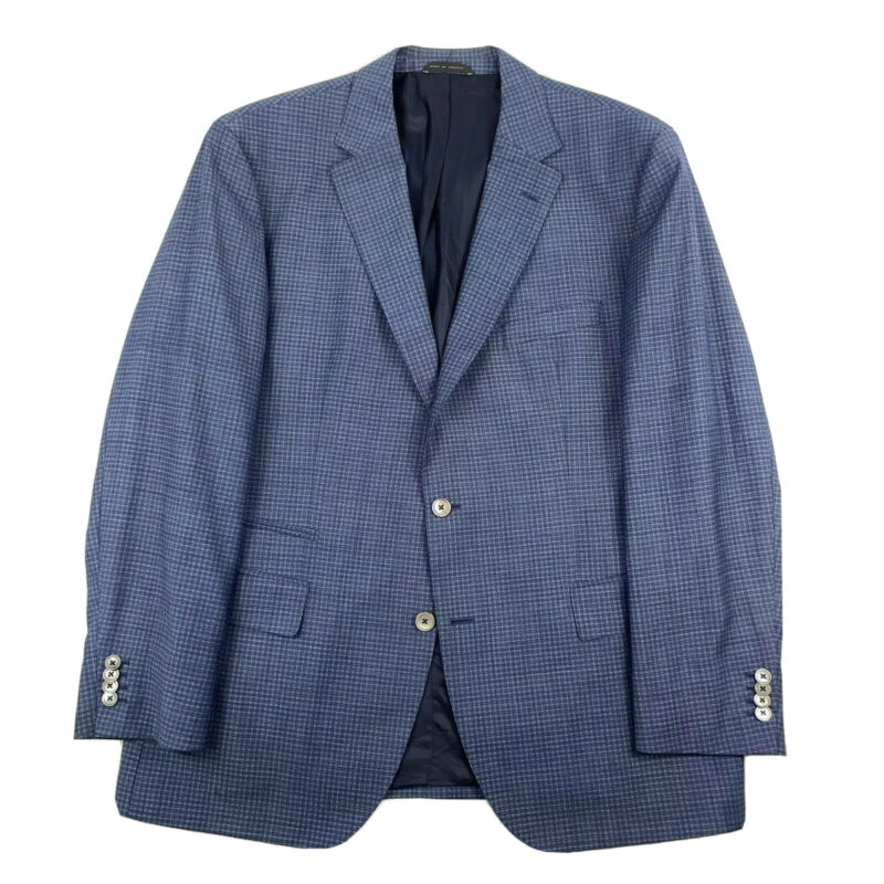 Hugo Boss Johnston3 Wool Blue Checked Mens Blazer 46R Excellent