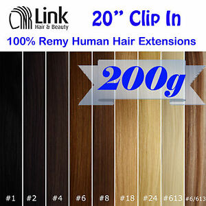 20-Premium-Clip-In-Remy-Human-Hair-Extension-Extra-Thick-Black-Brown-Blonde