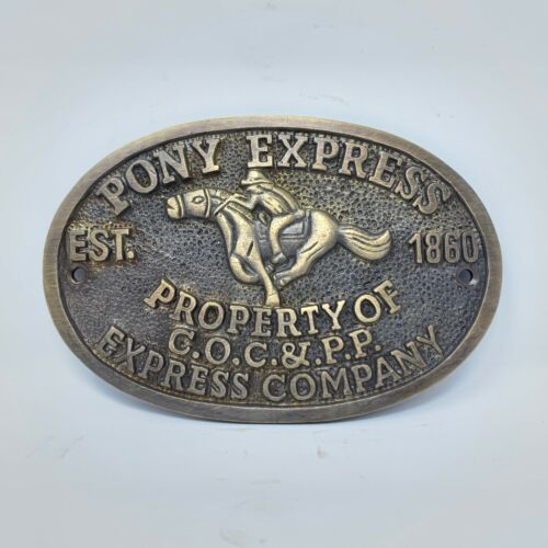 Pony Express Old West Sold Brass Plaque With Raised Letters And Antique Finish