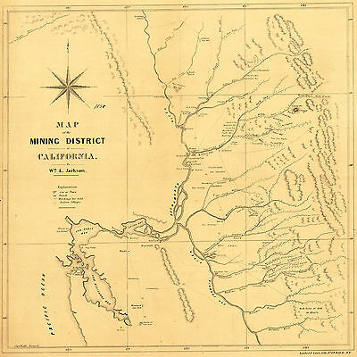 1850 Map California Gold Rush Mining District Mines Fields Wall Poster Vintage