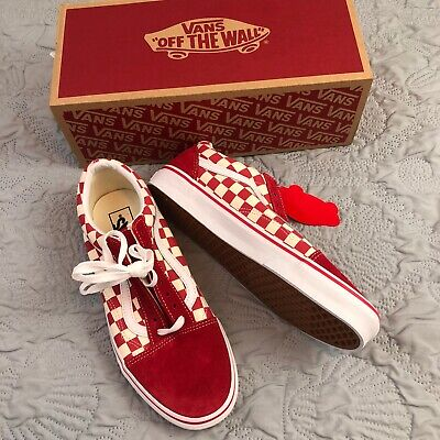 Vans Old Skool Skateboard Classic Red/White Checkerboard  Mens 9.5 Womens 11