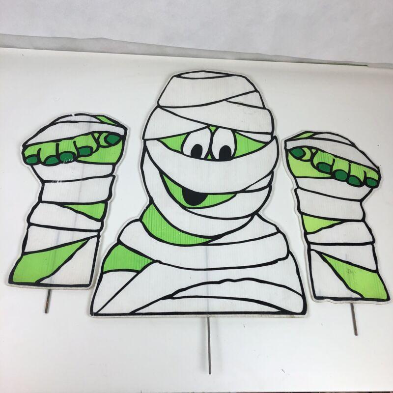 "VTG 80s 90s Halloween Cartoon Mummy 18"" Corrugated Plastic Yard Lawn Stake Sign"