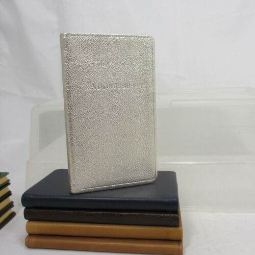 "Saks 5th Avenue Address Book 3x5"" Soft Leather Cover Personal Pocket Gold"