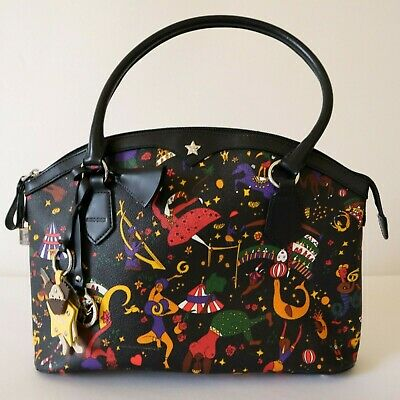 Piero Guidi Magic Circus Black Shoulder Bag Purse Leather Trimming Made In Italy