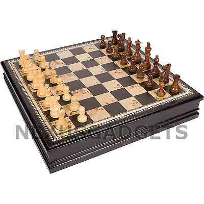 Chess 19 INCH EXTRA LARGE Board Game Set BURL Wood Wooden Inlaid Lift Up Pieces - Chess Pieces Set Up
