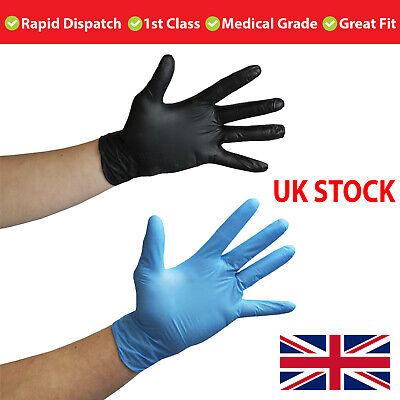 Medical Grade Disposable NITRILE Gloves Powder Free, Latex Free BLUE / BLACK -UK