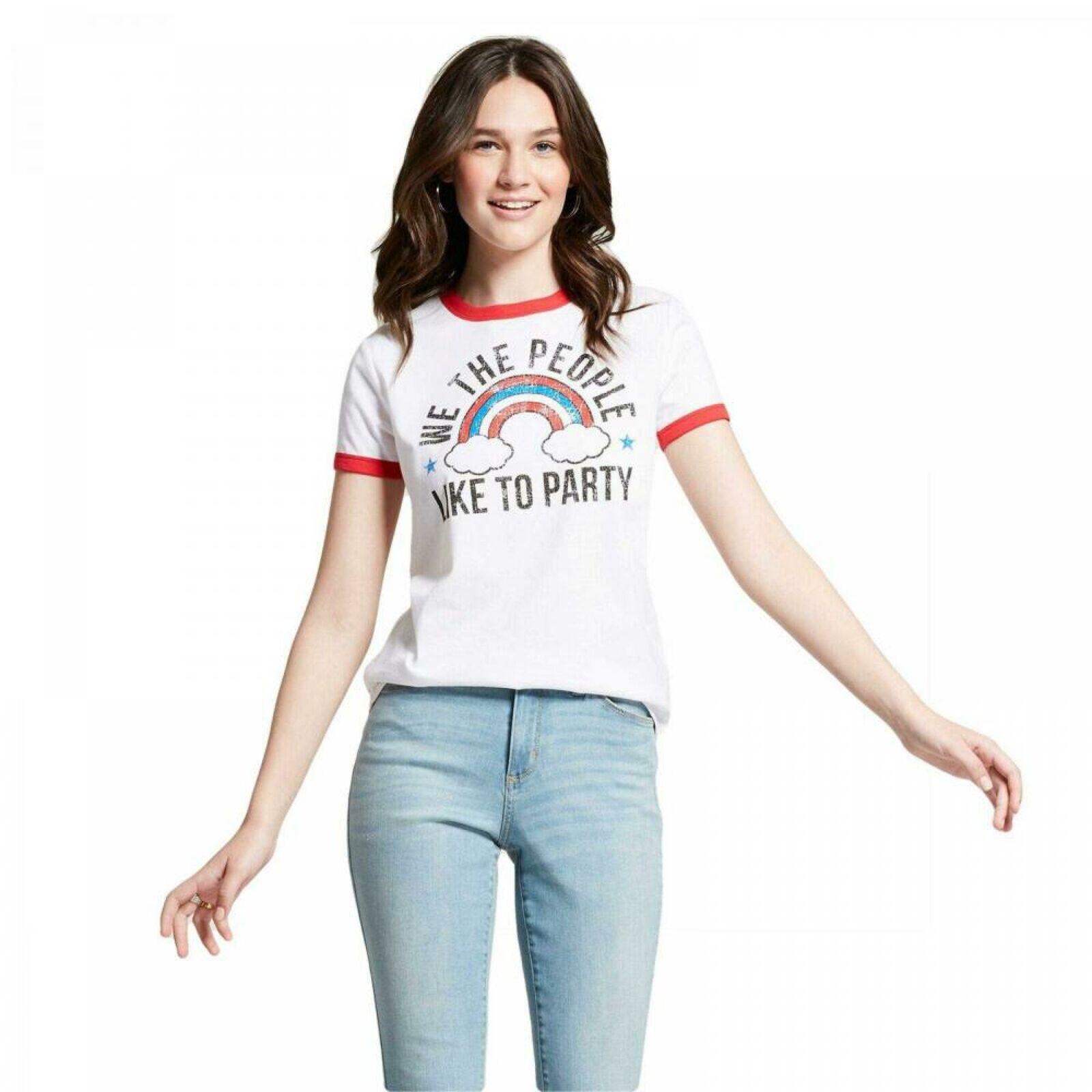 Over It Rainbow Juniors/' Graphic Ringer T-Shirt NWT
