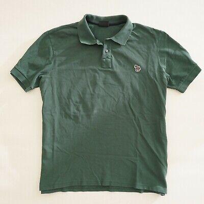 PS Paul Smith Mens Polo Shirt Size Large Green Organic Cotton Short Sleeve Zebra