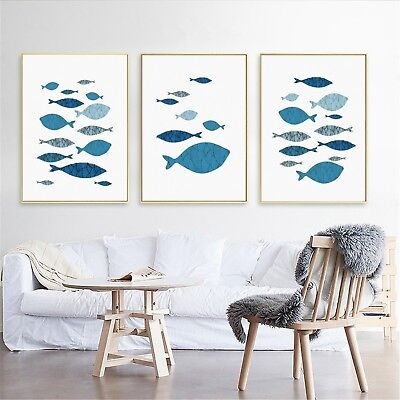 Abstract Art Fish Watercolor Paint Canvas Poster Nordic Wall Decor Unframed A595