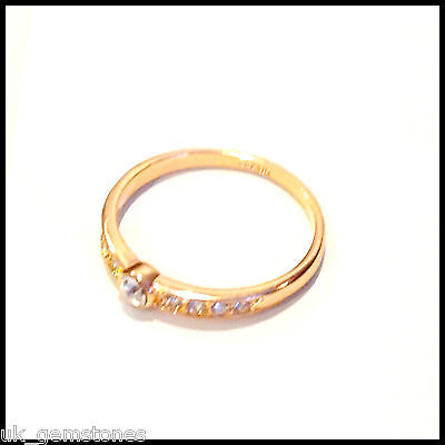 18k Rose Gold Plated Concise Ring, Austrian Crystal.