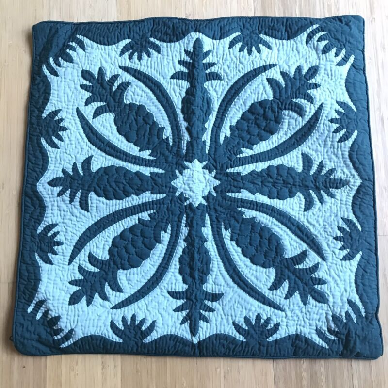 """2 Hawaiian Green Pineapple Quilted Appliqué Sham Throw Pillow Covers 23.5"""""""