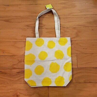 NWT Large Natural Canvas Tote Bag Yellow Dot](Natural Canvas)