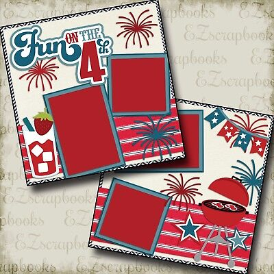 FUN on the 4th - Premade Scrapbook Pages - EZ Layout 2138 Fun Scrapbook Layouts