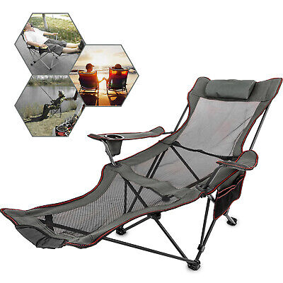 Grey Reclining Folding Camp Chair With Footrest Relaxation Storage Bag Portable ()