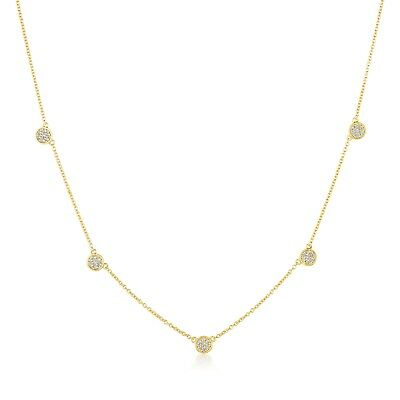 Crislu Pave Necklace (Authentic CRISLU Pave Circles Chain Necklace in Yellow Gold )