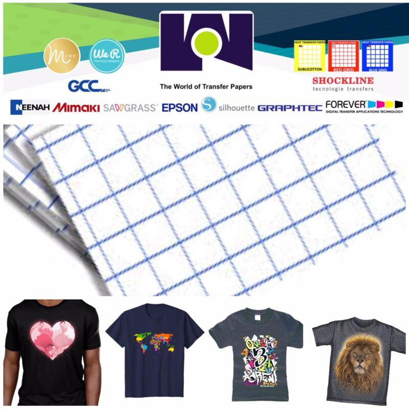 "Premium Dark Fabrics Inkjet Transfer Paper 8.5""x11""  Blue Grid 50 Sheets"