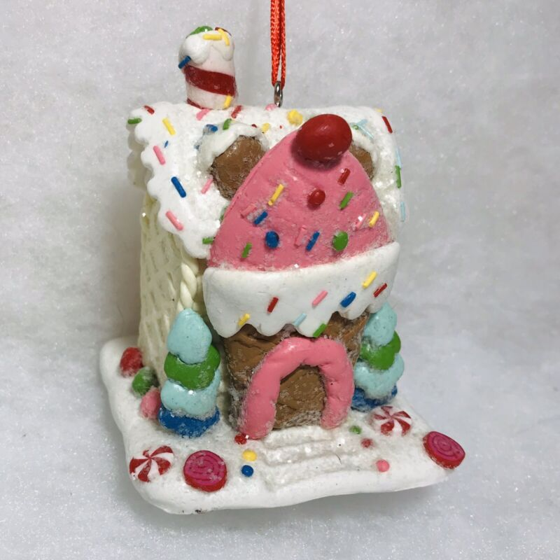 Pastel Gingerbread House Christmas Tree Ornament, Pink, Ice Cream