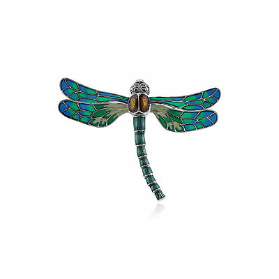 925 Sterling Silver Marcasite & Vibrant Enamel Dragonfly Brooch