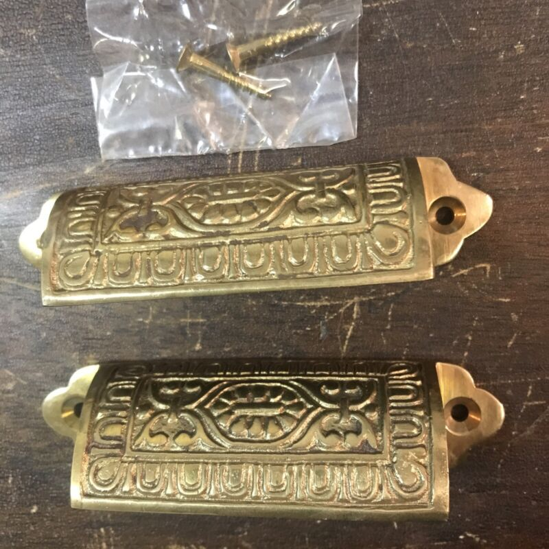 PAIR OF NEW OLD STOCK Brass SQ Cup Bin Pulls Etched Vintage Reproduction 1950's