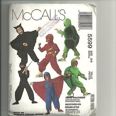 McCalls Costumes Halloween Sewing Pattern 5599 Assorted Superhero Kids Size 3-4