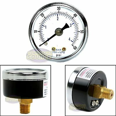 18 Npt Air Compressor Hydraulic Pressure Gauge 0-60 Psi Back Mount 1.5 Face