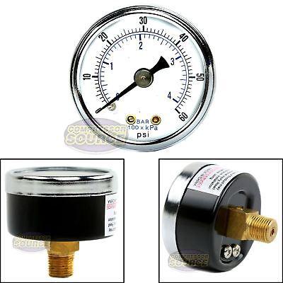18 Npt Air Compressor Hydraulic Pressure Gauge 0-60 Psi Back Mount 1.5 Face