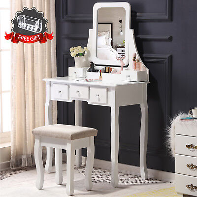 Makeup Vanity Dressing Table W/Stool 5 Drawers&Mirror Jewelry Wood Desk White ](Mirror Table)