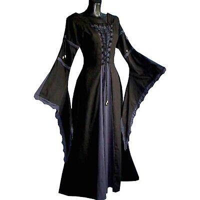 KLEID MITTELALTER schwarz blau S #6172 dunkelblau Gewandung Kostüm Karneval