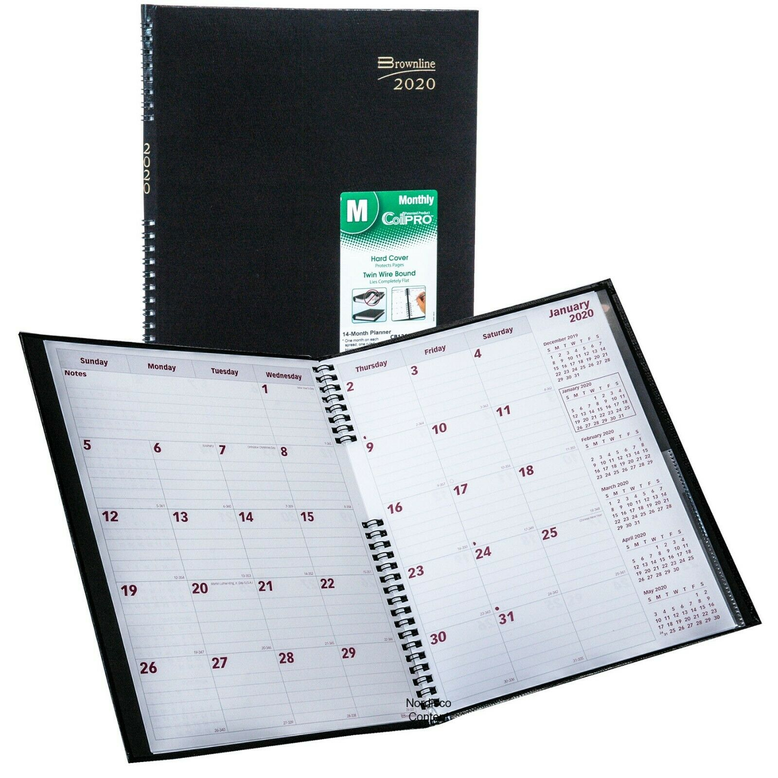 2020 Brownline CB1262C.BLK Monthly Planner, CoilPRO, Hard Co