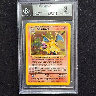 1999 Charizard BGS 9 MINT Base Set Unlimited Holo Pokemon Card 4/102 PSA 9 + ?