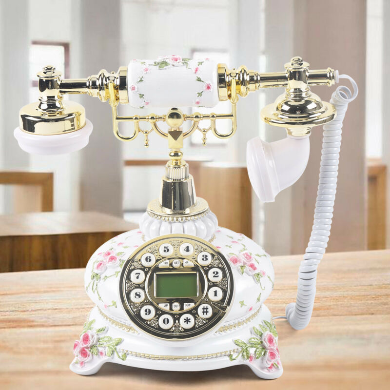 Beautiful Vintage Rotary Metal & Resin Antique Telephone European Style Phone US