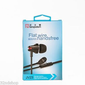 JV23 Flat wire Earphones In-Ear Portable Headphones Inline Volume - Black