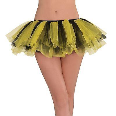 Erwachsene Tutu Kostüme (Erwachsene Gelb & Schwarz Rüschen Tutu Rock Hummel Junggesellinnenabschied)