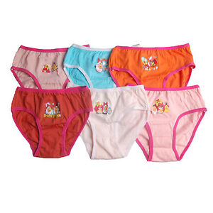 6 Pcs Disney Girls Kids Cotton underwear undies panties Mluti Designs size 3~12