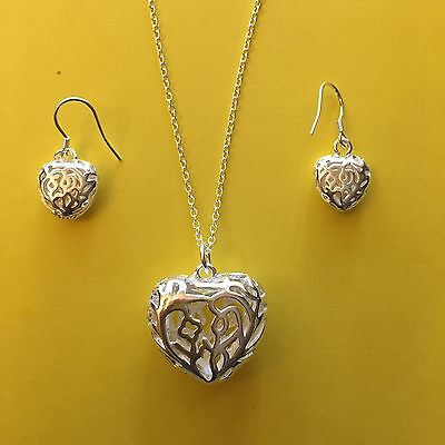 New Womens Heart Pendant Chain Necklace And Earring Set 925 Sterling Silver
