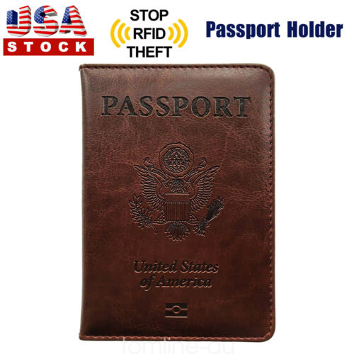 Brown PU Leather Passport Cover Protector ID Name Card Case