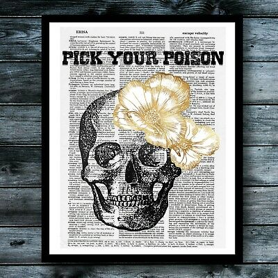 Sugar Skull Vintage Dictionary Art Print Posion Cute Kitchen Poster Wall Decor