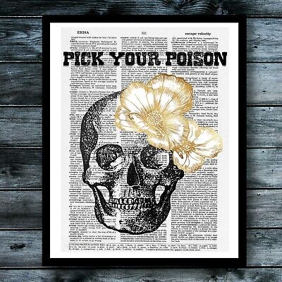 Sugar Skull Vintage Dictionary Art Print Posion Cute Kitchen Poster Wall Decor ()