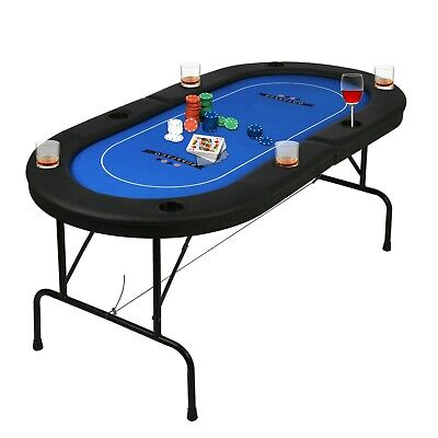 Foldable 8 Player Poker Table Casino Texas Holdem Card Game Folding Party Desk