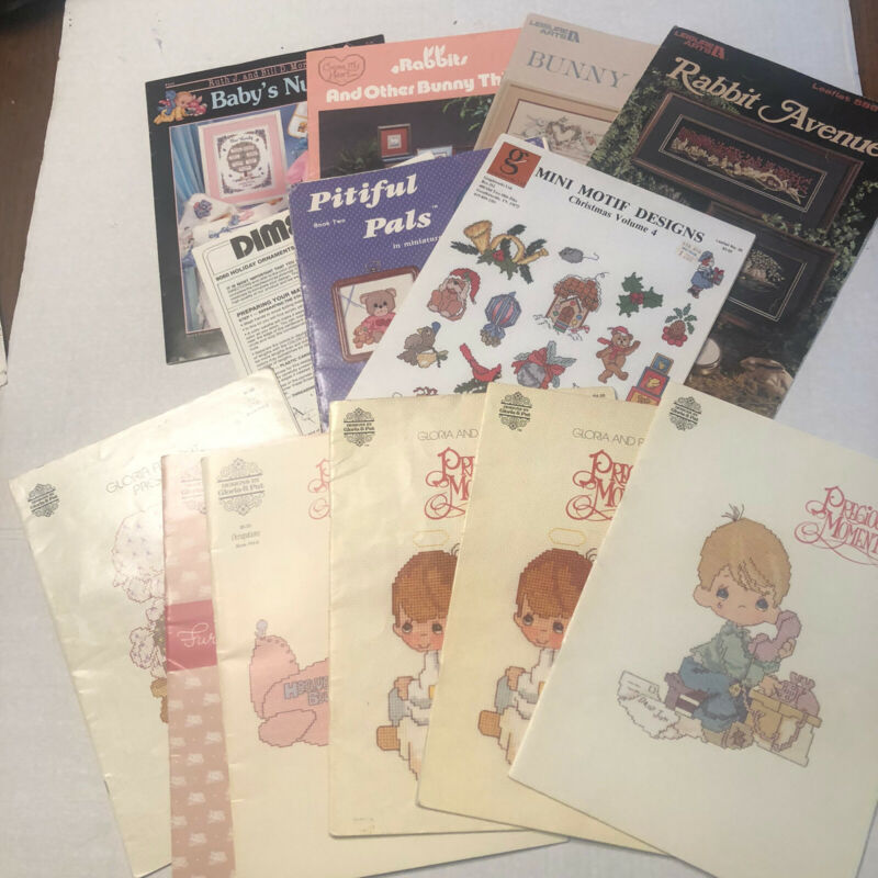 Counted Cross Stitch Booklet Lot Christmas Precious Moments Baby Bunnies